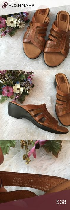 NWOT Clarks Camel Heeled Sandals Brand new without tags. Size 10 medium. Smoke and pet free home. No trades. Clarks Shoes Sandals