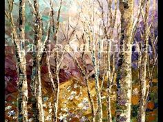 Demo of an impressionist Spring Forest painting with palette knife by Ta...