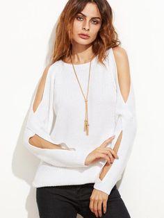 White Crossover Split Sleeve Sweater