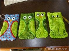 machine embroidered owl  and cat eyeglass cases