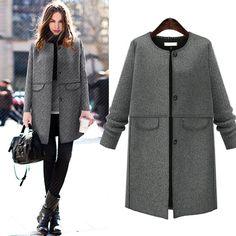 2016 moda mulheres casacos de inverno cinza de lã longa casaco XL-5XL
