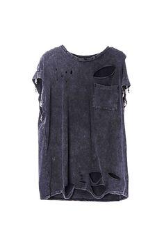 Skull Detailed Distressed Black T-shirt  $33.99 #Romwe