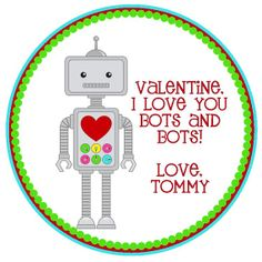 Robot Valentine's Favor Tags or Stickers by CustomParty4U on Etsy, $6.00