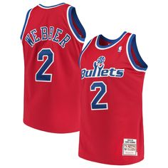 0004ee1165f Men's Washington Bullets Chris Webber Mitchell & Ness Red Road 1994/95  Hardwood Classics Authentic Jersey