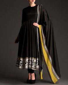 Jet Black Anarkali Suit with Floral Panel