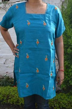 Blue Cotton Fusion Top with Mirror work embroidery #WomenShoping #OnlineShoping #TheSaffronSaga  Price- 1339.00 Shop Now- http://thesaffronsaga.com/products/blue-cotton-fusion-top-with-mirror-work-embroidery