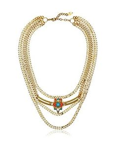 60% OFF LK Designs Layered Crystal Link Necklace