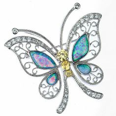 Sterling Silver Blue Opal CZ Butterfly Brooch / Pin The Royal Gift. $89.97. Yellow / Clear cz stones. Blue Opal Stones. .925 Sterling silver butterly brooch /pin