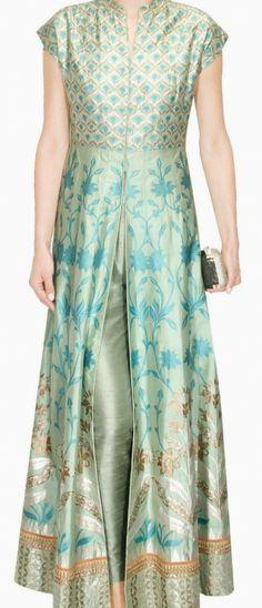 Sage green banarasi hand woven jacket kurta at Pernia's Pop Up Shop. Indian Attire, Indian Wear, Pakistani Outfits, Indian Outfits, Kurta Designs, Blouse Designs, Ethnic Fashion, Indian Fashion, Salwar Kameez