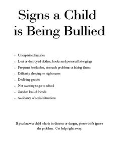 Is Your Child Being Bullied?  Here are some signs to look for.