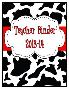 Teacher Binder- Cow Print and Red Accents- Over 40 pages of sections and forms! $ Teacher Binder Organization, Red Accents, Cow Print, Core, Snoopy, Pets, Animals, Fictional Characters, Animales