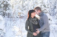 couples winter maternity photo   Maternity Shoot: Snowy Winter Day Inspiration   Done Brilliantly