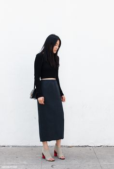 black top, navy midi skirt & open toe booties #style #fashion