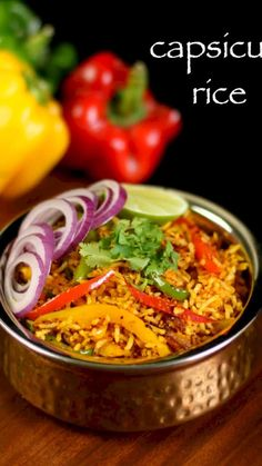 capsicum rice recipe, capsicum pulao, capsicum masala rice with step by step photo/video. quick & healthy lunch box bell pepper recipe for both kids & adult Lunch Box Recipes, Veg Recipes, Spicy Recipes, Curry Recipes, Indian Food Recipes, Vegetarian Recipes, Healthy Recipes, Capsicum Recipes, Mexican Rice Recipes