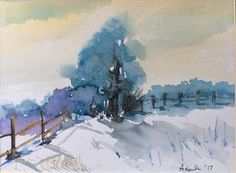 "ORIGINAL watercolor PAINTING of a landscape ""Winter View"" signed #Impressionism"