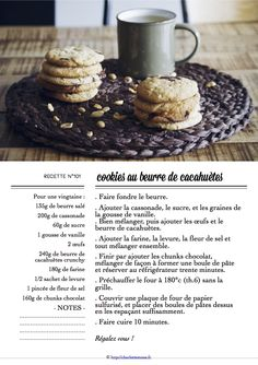 Carton Recette n°101 Fondue, Cookies, Recipe Cards, Biscotti, Crackers, Cereal, Breakfast, Desserts, Peanut Butter