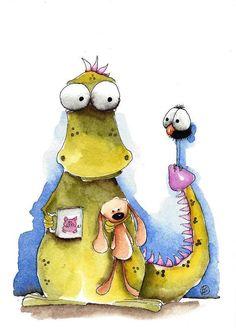 Original watercolor painting whimsical dragon bunny bird crow morning coffee #IllustrationArt