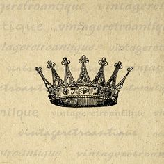 Printable Image Crown Graphic Digital by VintageRetroAntique