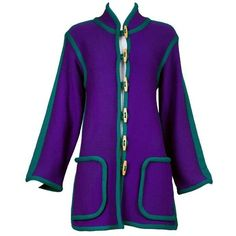 Preowned Vintage Yves Saint Laurent Purple Wool Knit Cardigan W/green... ($650) ❤ liked on Polyvore featuring tops, cardigans, purple, short-sleeve cardigan, yves saint laurent, purple top, vintage tops and purple cardigan