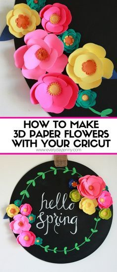 Paper Embroidery Check out this cute easy tutorial on how to make paper flowers with your Cricut Explore Air and find out what else you can do with it. 3d Paper Flowers, How To Make Paper Flowers, Diy Flowers, Hanging Paper Flowers, Scrapbook Paper Flowers, Felt Flowers, Cricut Cake, Do It Yourself Baby, Origami