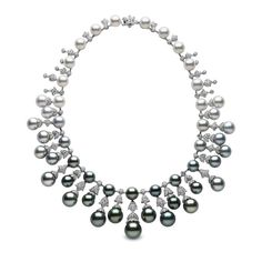 YOKO London black pearl necklace featuring very dark Tahitian pearls, which give way to lighter grey and silvery white Australian South Sea pearls.
