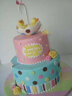Aqua & Pink Twin Duck Cake with Brown & Pastel Stripes and Dots (Jocelyne) Torta Baby Shower, Twin Baby Shower Cake, Pretty Cakes, Cute Cakes, Beautiful Cakes, Amazing Cakes, Fondant Cakes, Cupcake Cakes, Rubber Duck Cake