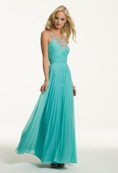 Prom Dresses 2013 - Long Chiffon Dress with Illusion Beaded Neck from Camille La Vie and Group USA