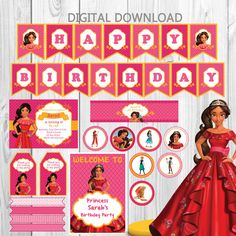ELENA OF AVALOR Party Package, instant download, invitation, happy birthday banner, bottle's label, cupcake toppers, Diy by vangelysdesign on Etsy https://www.etsy.com/listing/482611101/elena-of-avalor-party-package-instant