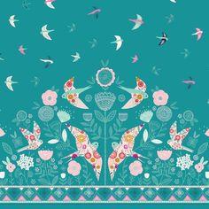 """Lewis et Irene /""""From Old Harry Roches de fleurs sur Aqua 100/% coton"""