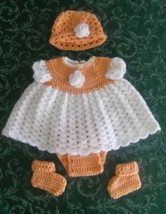 Newborn dress with hat, diaper cover and booties