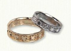 Star Wedding Band shown in both 14kt Yellow Gold and 14kt White Gold