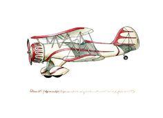"Waco Open-Cockpit Biplane vintage airplane watercolor print, 8x10"""