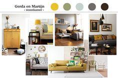jaren 70 interieur, retro geel en grijs, interieur advies moodboard sfeer