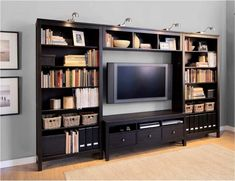 ikea hemnes living room Posted by Christine Soner on May 2012 Entertainment Shelves, Entertainment Center, Living Tv, My Living Room, Hemnes Bookcase, Bookcase Wall, Bookcases, Living Room Decor Ikea, Catalogue Ikea