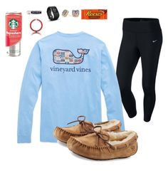 """""""Cozy"""" by prepallday ❤ liked on Polyvore featuring NIKE, Chapstick, Fitbit, Kate Spade and UGG Australia"""