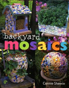 25 MOSAIC PROJECTS Backyard Garden Patio Book Serving Carts Trays Fireplace Stepping Stone Path Birdhouses Broken Pottery Free US Shipping. $11.95, via Etsy.