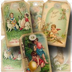 Vintage Easter Hang Tag 2 Printable by CharmedMemoryCollage, $3.50