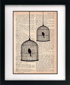 Items similar to birdcage print - birdcage art print - vintage dictionary print - recycled book page - upcycled book page - art print on Etsy - Vintage Art Old Book Crafts, Book Page Crafts, Book Page Art, Book Pages, Cuadros Diy, Newspaper Art, Newspaper Dress, Art Vintage, Vintage Birdcage