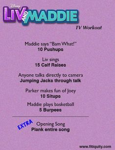 Workout plans, helpful home work-out advice to get healthy. Look over this easy workout plans motivation pin number 7036147685 here. Disney Movie Workouts, Tv Show Workouts, Disney Workout, Mini Workouts, Easy Workouts, Cheerleading Workouts, Cheer Workouts, Gymnastics Workout, Basketball Workouts