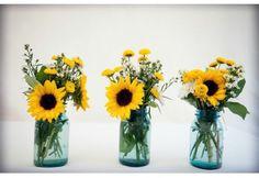 sunflower party decorations   sunflowers in mason jars rustic wedding   Sunflowers & Daisies