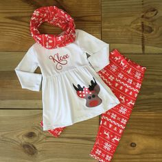 Red and White Reindeer Applique 3 piece snowflake print leggings with tunic and matching infinity scarf. Wear this for Christmas & holiday season, all winter, and everyday. This will make a great Chri