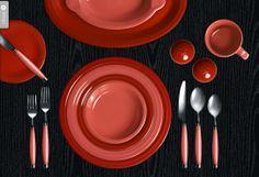 Valentine's Day fiestaware dinner table.