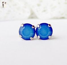 8mm sky blue opalescent rhinestone stud earrings, made with Swarovski crystals - Bridesmaid gifts (*Amazon Partner-Link)
