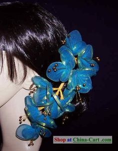 Thailand Teal Hair Decoration Flower for Women