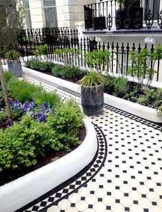 Victorian floor tiles and contemporary geometric ceramic tiles. Specialists in the design and supply of mosaic tile schemes. Porch Tile, Patio Tiles, Outdoor Tiles, Front Garden Path, Garden Paths, Garden Bed, Victorian Front Garden, Flur Design, Tile Design