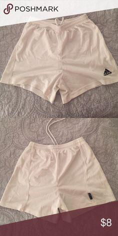 Adidas Soccer Shorts White Adidas soccer shorts. Drawstring at the waist. Size tag removed. Adidas Shorts