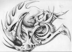 Biomechanical drawing tattoo design.