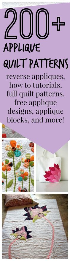 200 + Free Applique Designs and Applique Quilt Patterns - Learn how to applique and download free applique templates from one of our hundreds of applique DIY ideas.