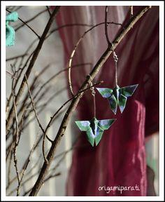 Mariposas verdes de origami _ pendientes/earrings