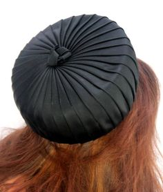 Vintage Black Satin Pleated Pillbox Hat by by Dana Marte